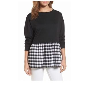 Caslon black light sweater with Gingham detailing